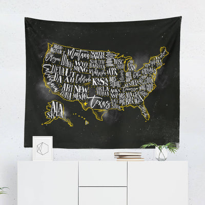 US Map Tapestry - Black-W.FRANCIS