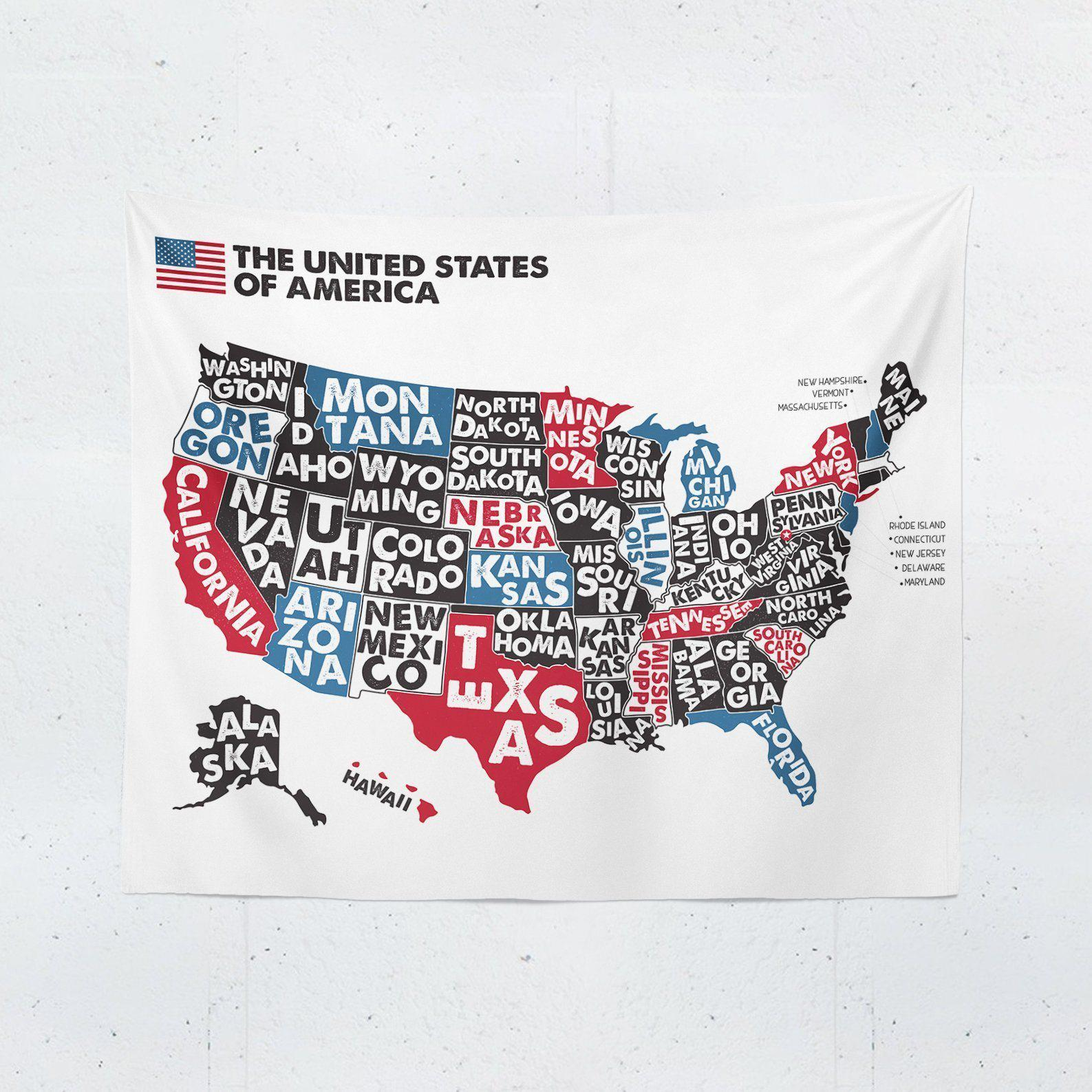 USA Map Tapestry-W.FRANCIS