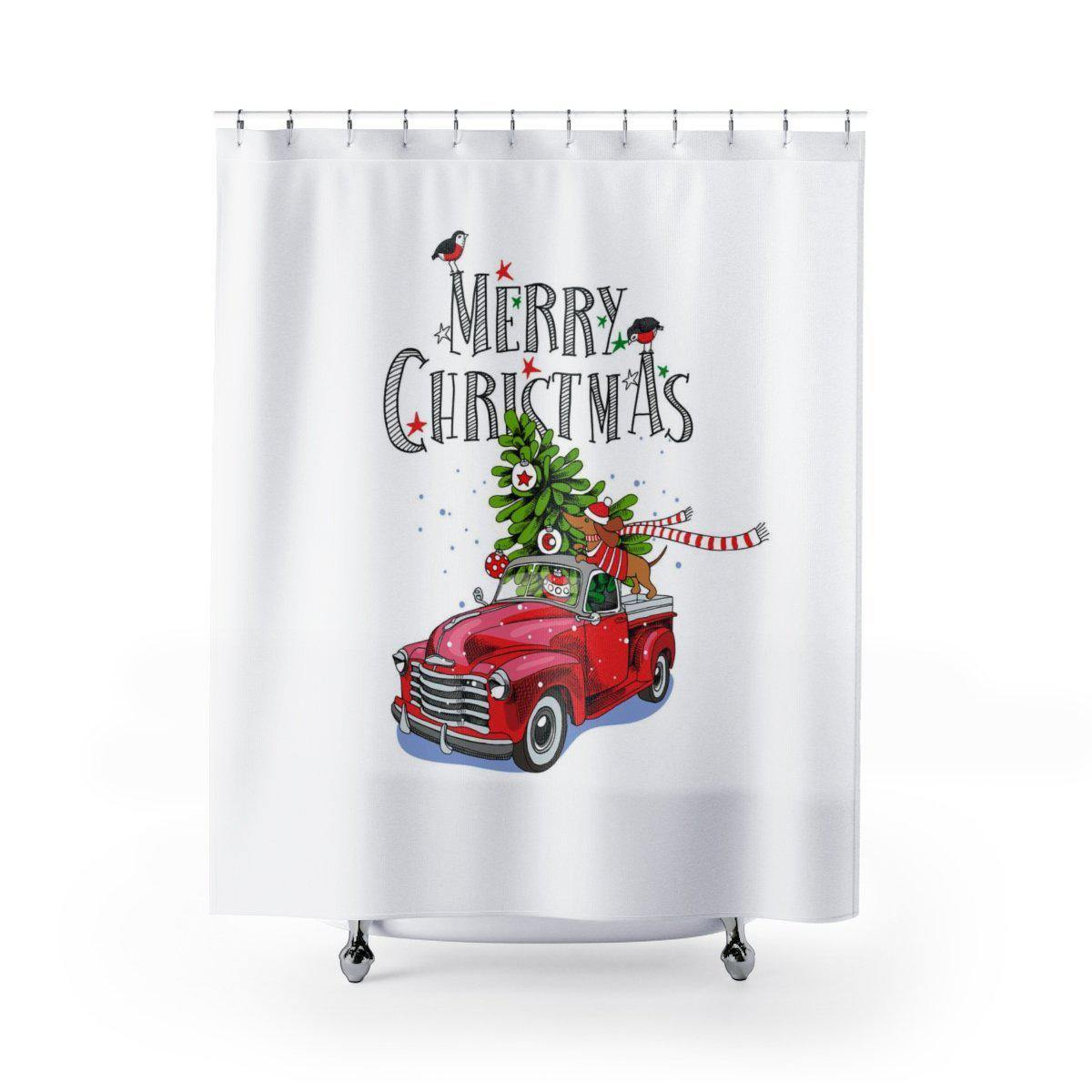 Vintage Car Christmas Shower Curtain-W.FRANCIS