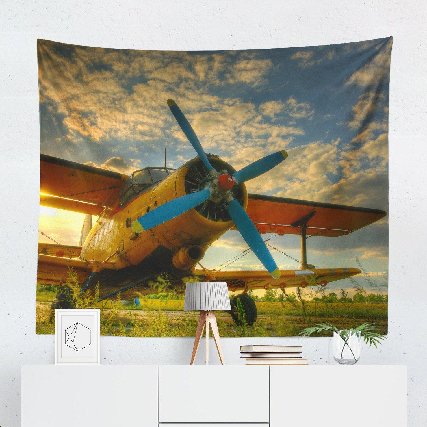 Vintage Plane Wall Tapestry-W.FRANCIS