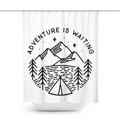 Wanderlust Quote Shower Curtain-W.FRANCIS