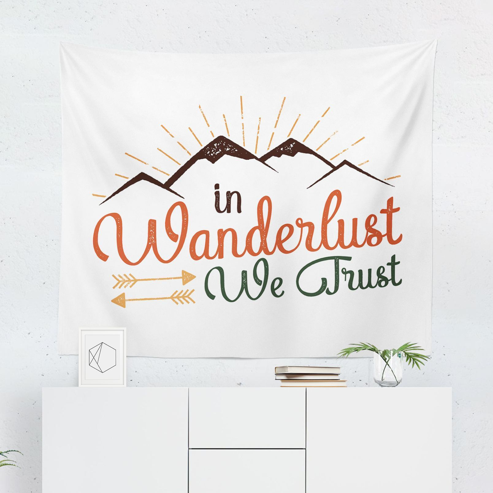 "Wanderlust Wall Tapestry ""In Wanderlust We Trust""-W.FRANCIS"