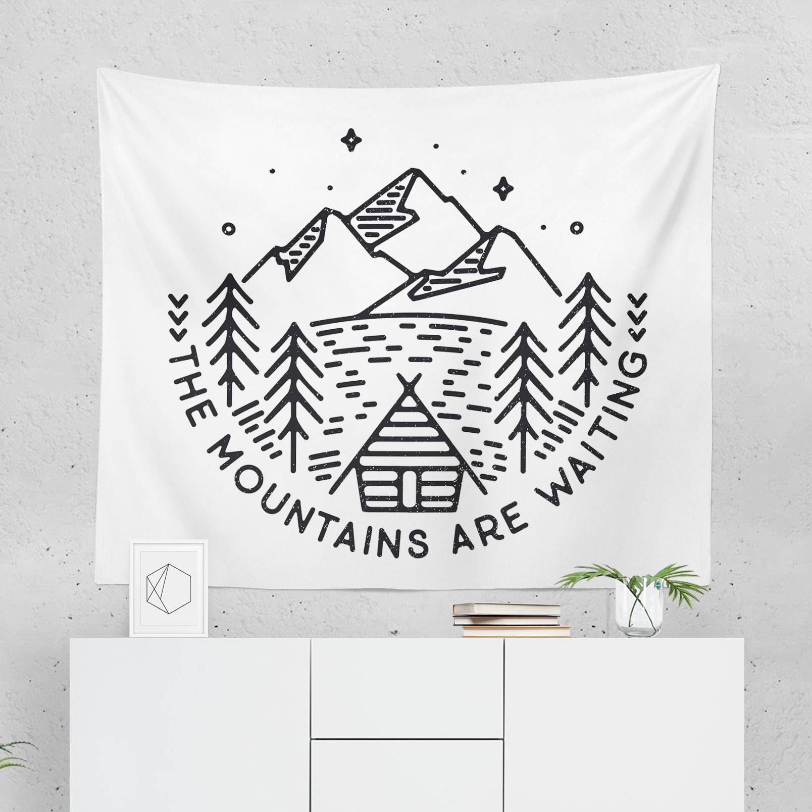 "Wanderlust Wall Tapestry ""The Mountains Are Waiting""-W.FRANCIS"
