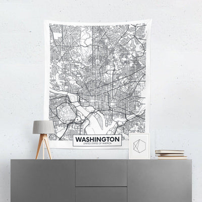 Washington DC Map Wall Tapestry - Tapestries - W.FRANCIS
