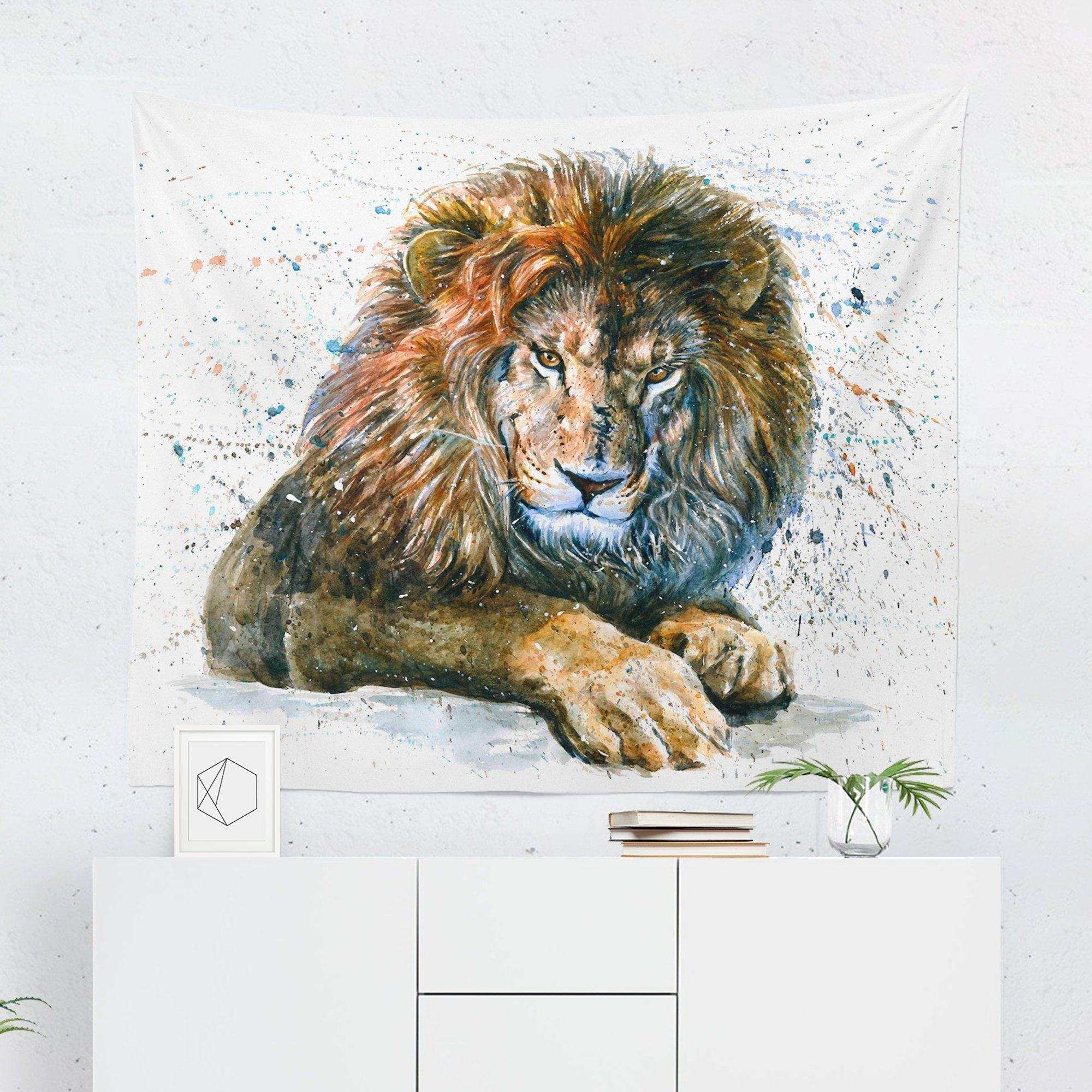 Watercolor Lion Tapestry-W.FRANCIS