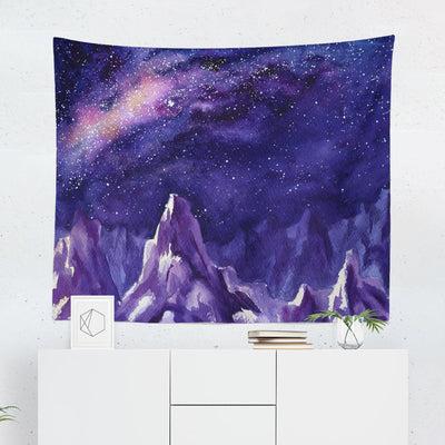 Watercolor Mountain Night Sky Tapestry-W.FRANCIS