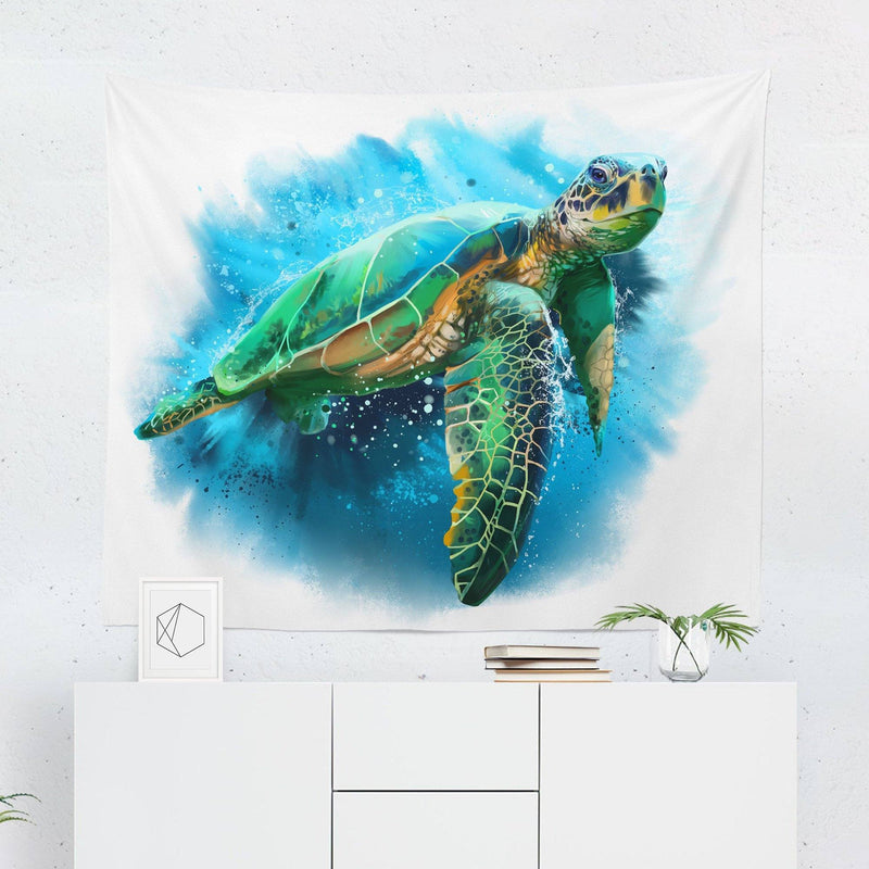 Watercolor Turtle Tapestry-W.FRANCIS