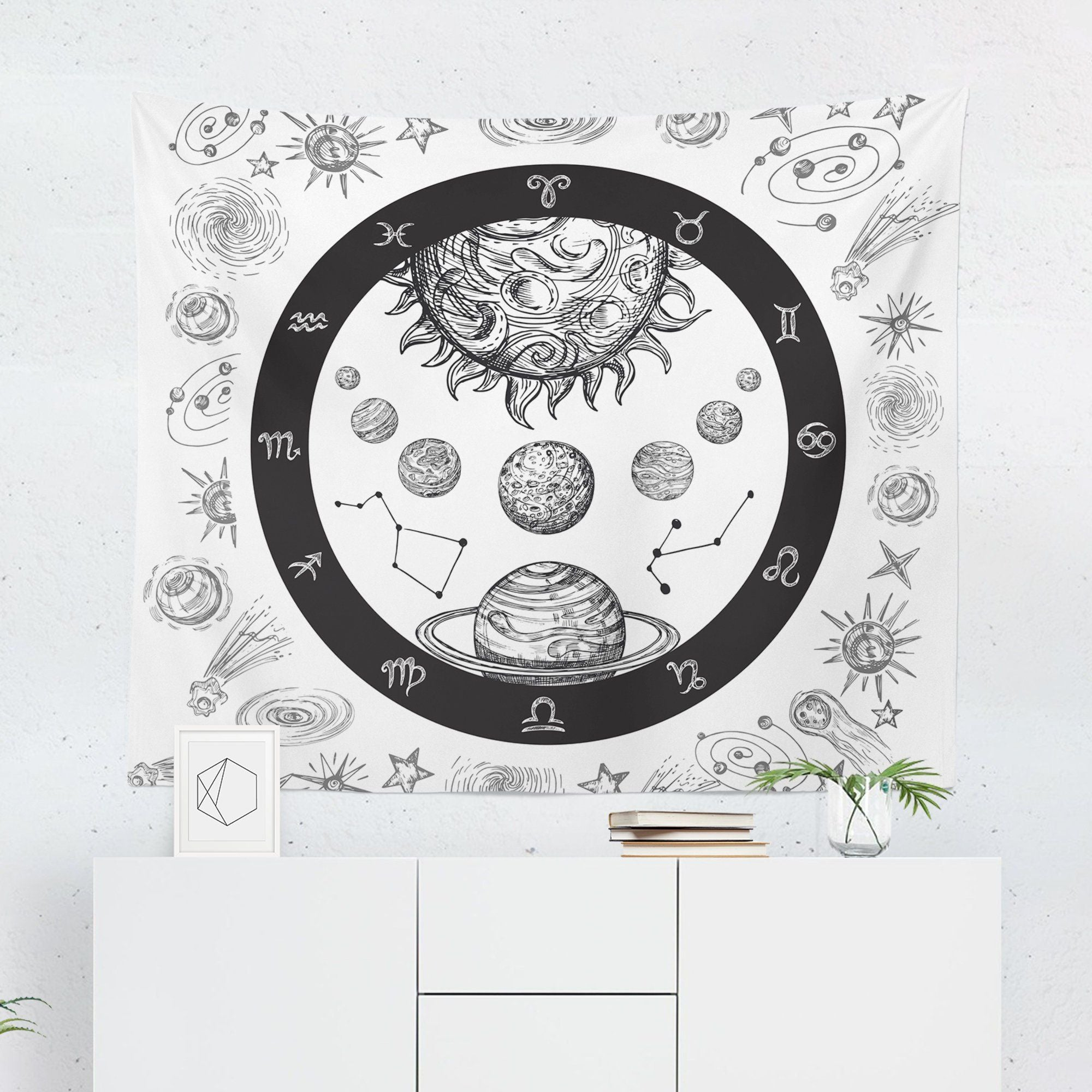 "White Astrology ""Planets"" Tapestry-W.FRANCIS"