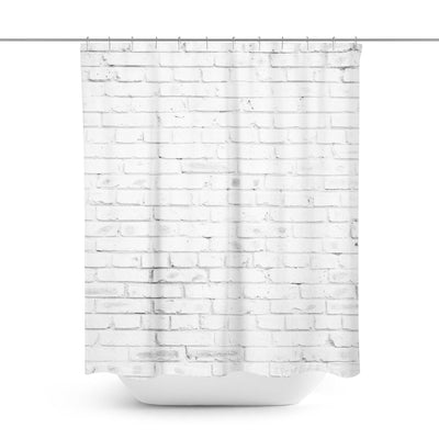 White Brick Shower Curtain-W.FRANCIS