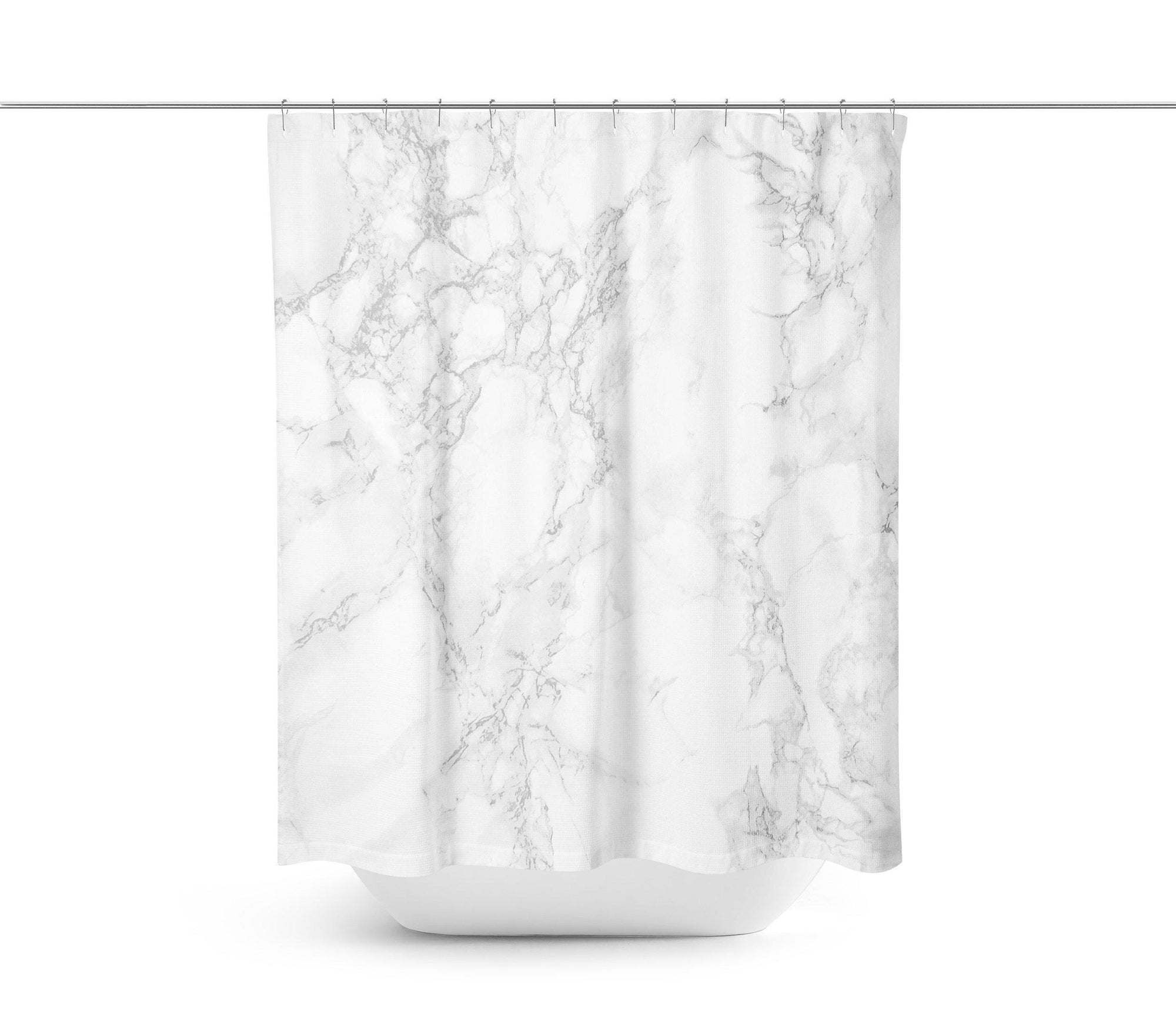 White Grey Marble Shower Curtain-W.FRANCIS