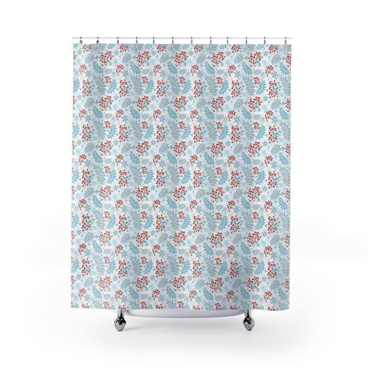 Winter Berry Christmas Shower Curtain-W.FRANCIS