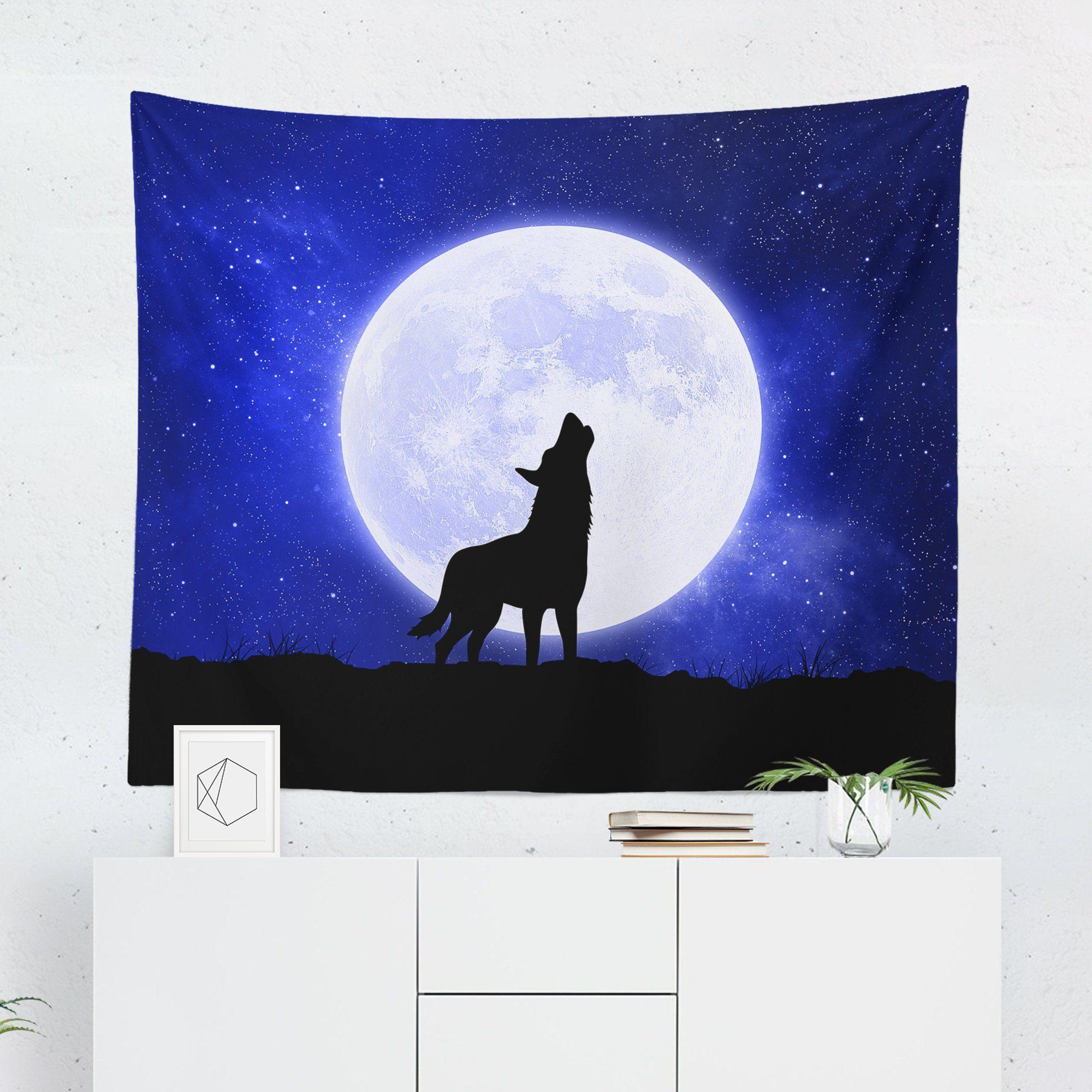 Wolf Blue Moon Tapestry-W.FRANCIS