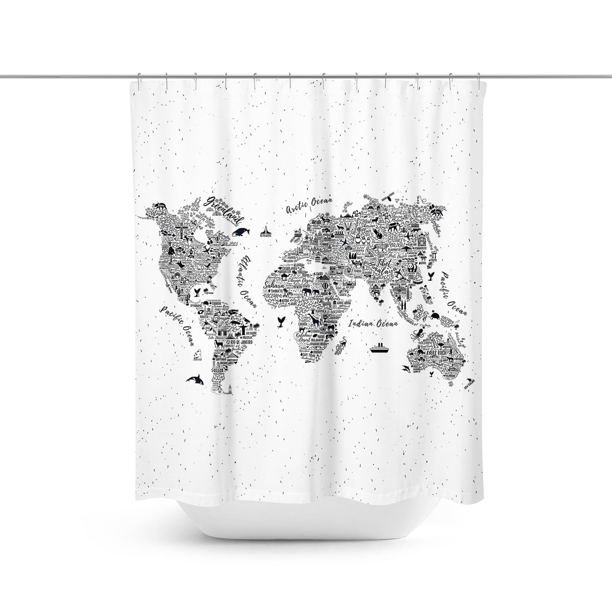 World Map Shower Curtain-W.FRANCIS