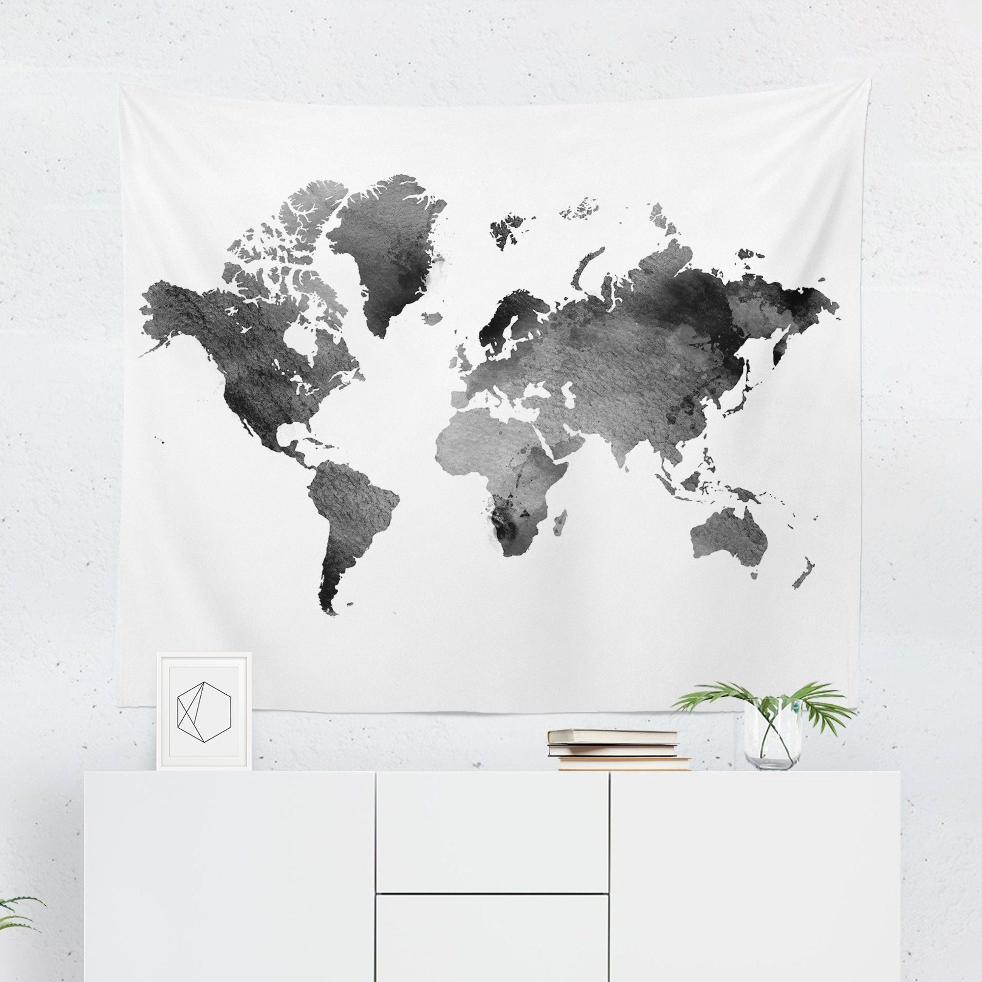 World Map Tapestry - Black Watercolor-W.FRANCIS
