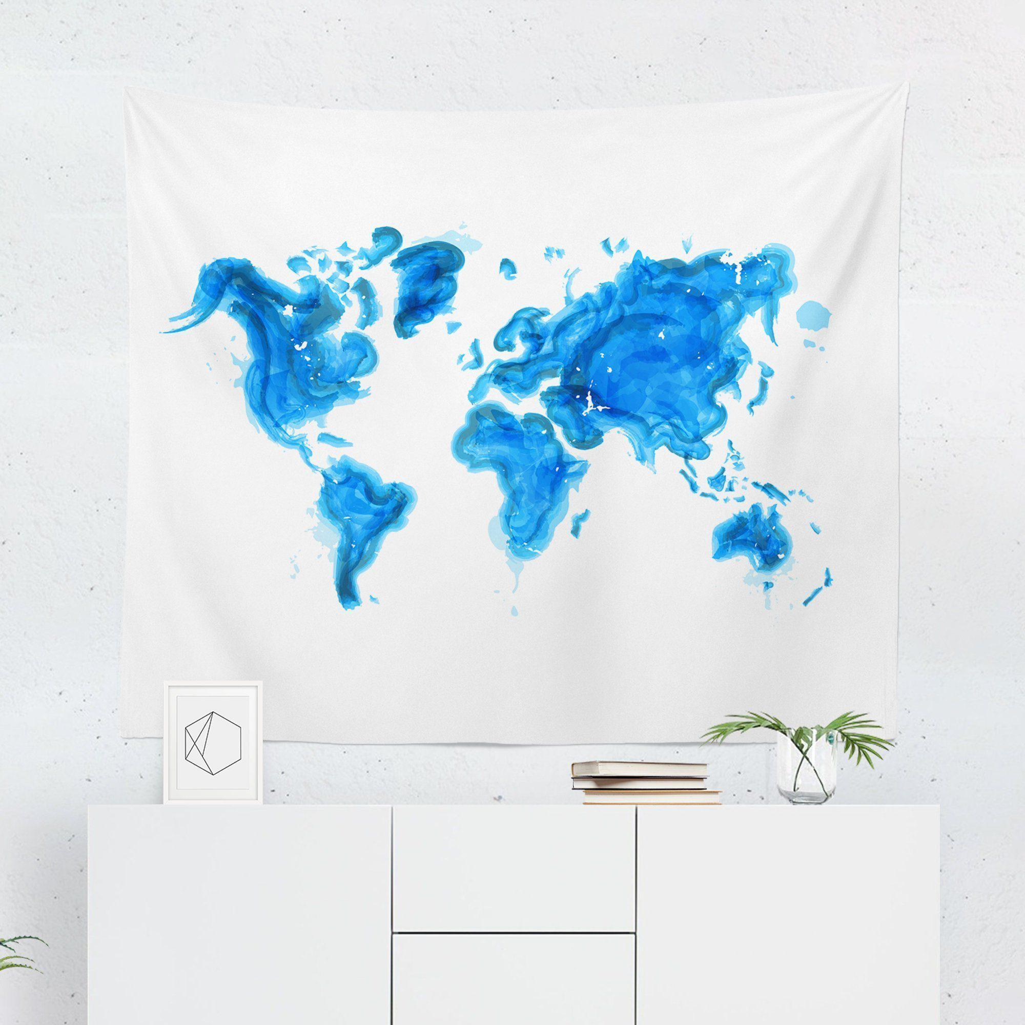 World Map Tapestry - Blue-W.FRANCIS