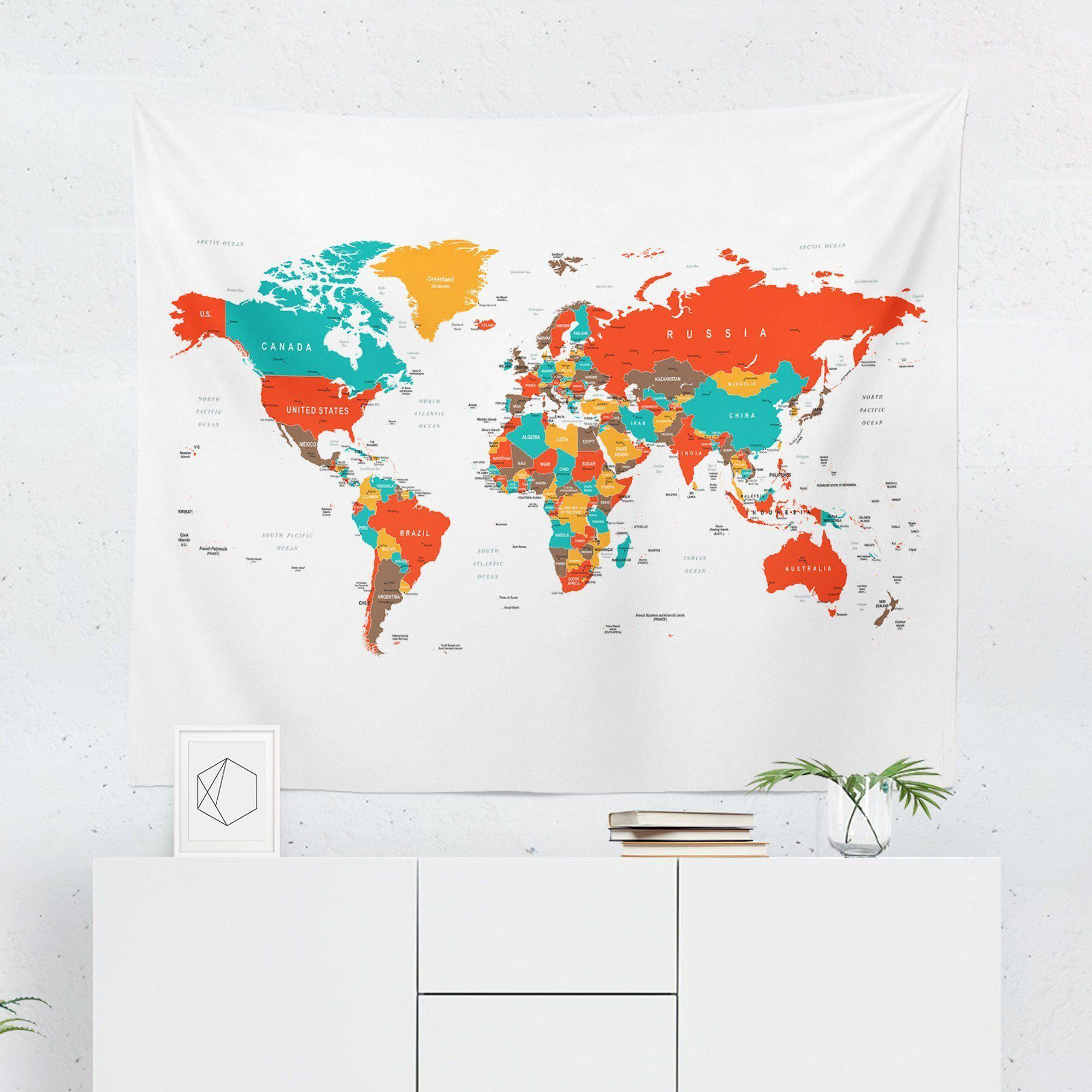 World Map Tapestry - Colorful-W.FRANCIS