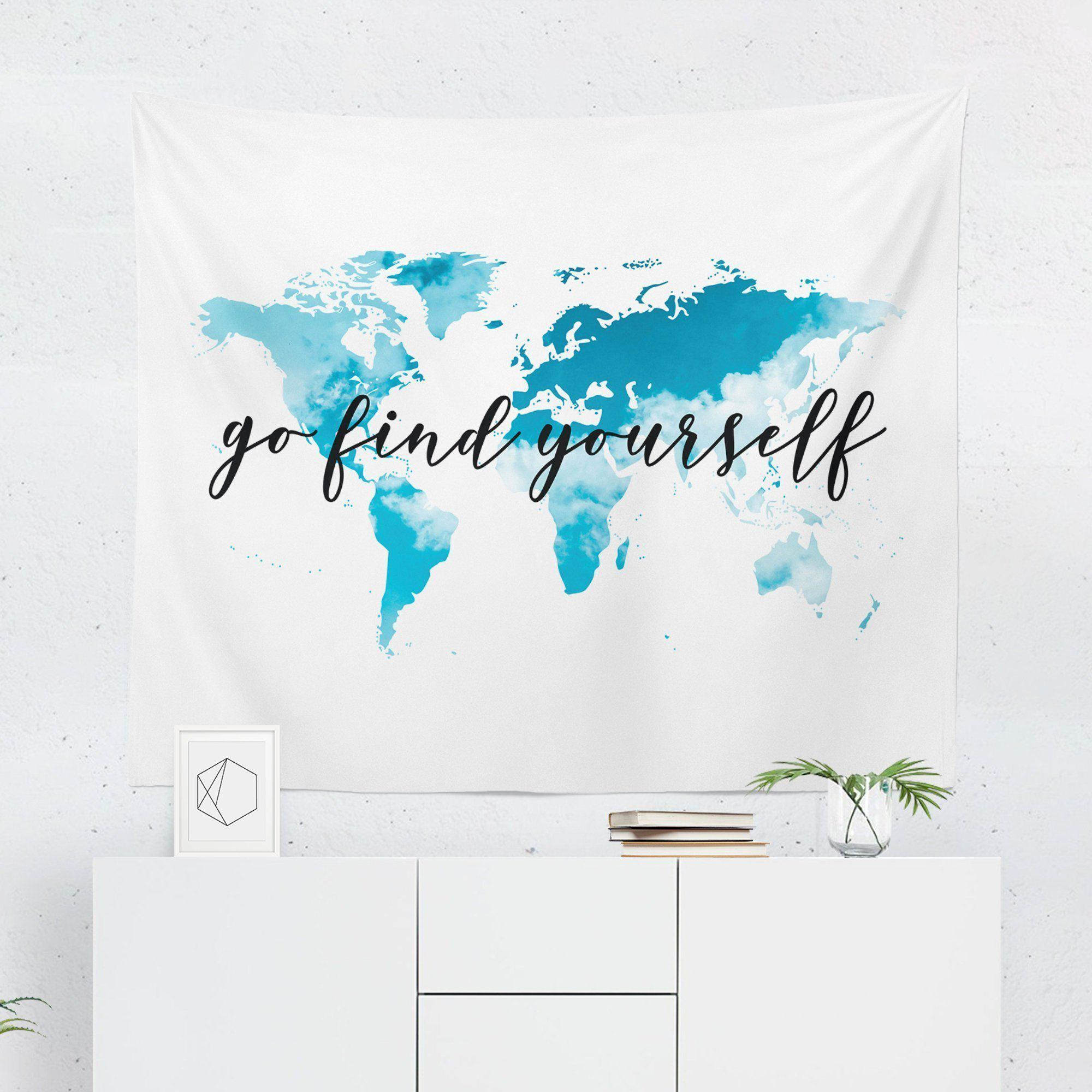 "World Map Tapestry ""Go Find Yourself-W.FRANCIS"