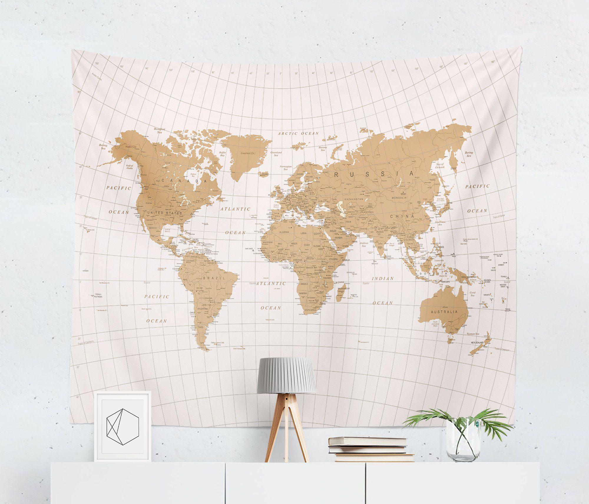 World Map Tapestry - Gold-W.FRANCIS