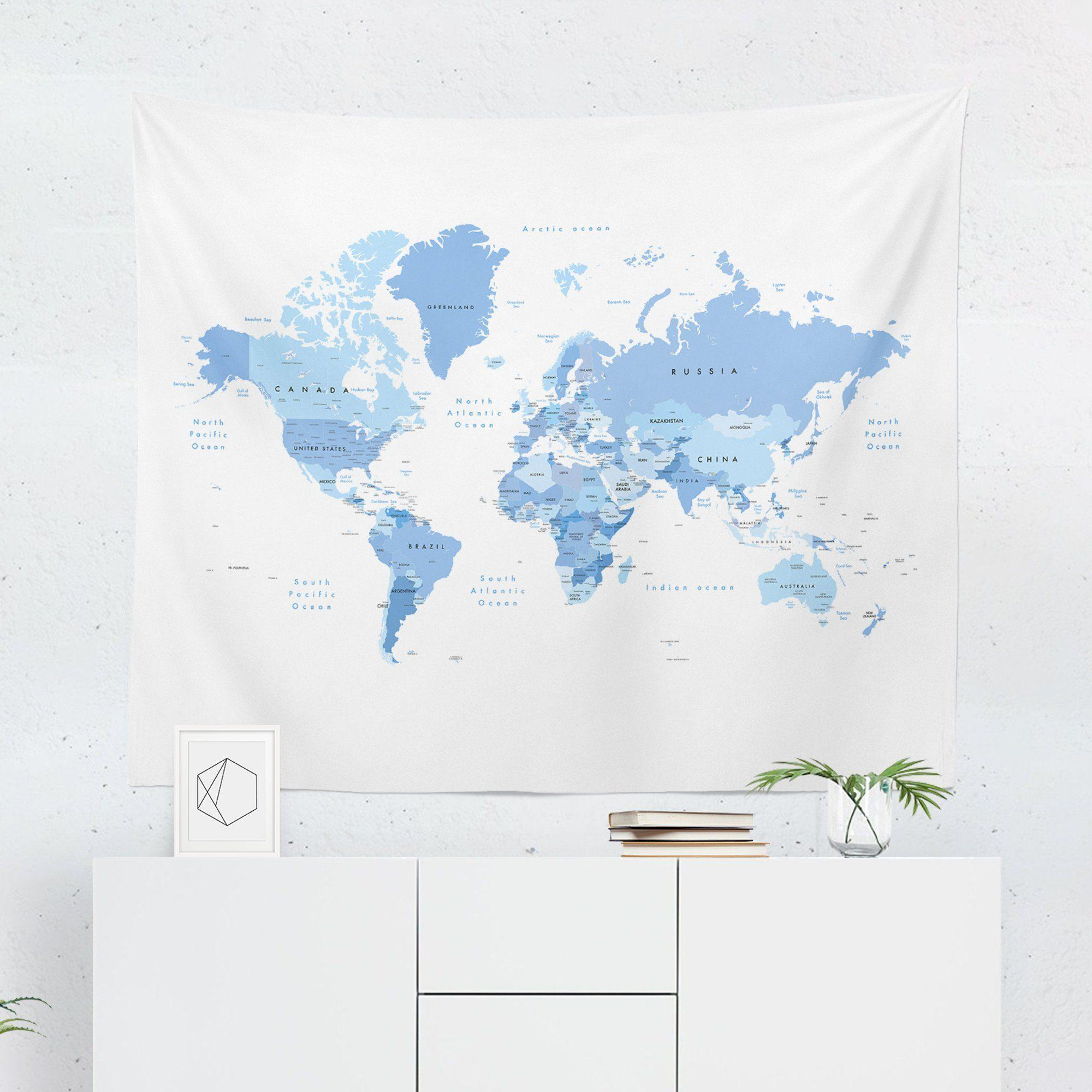 World Map Tapestry - Light Blue-W.FRANCIS
