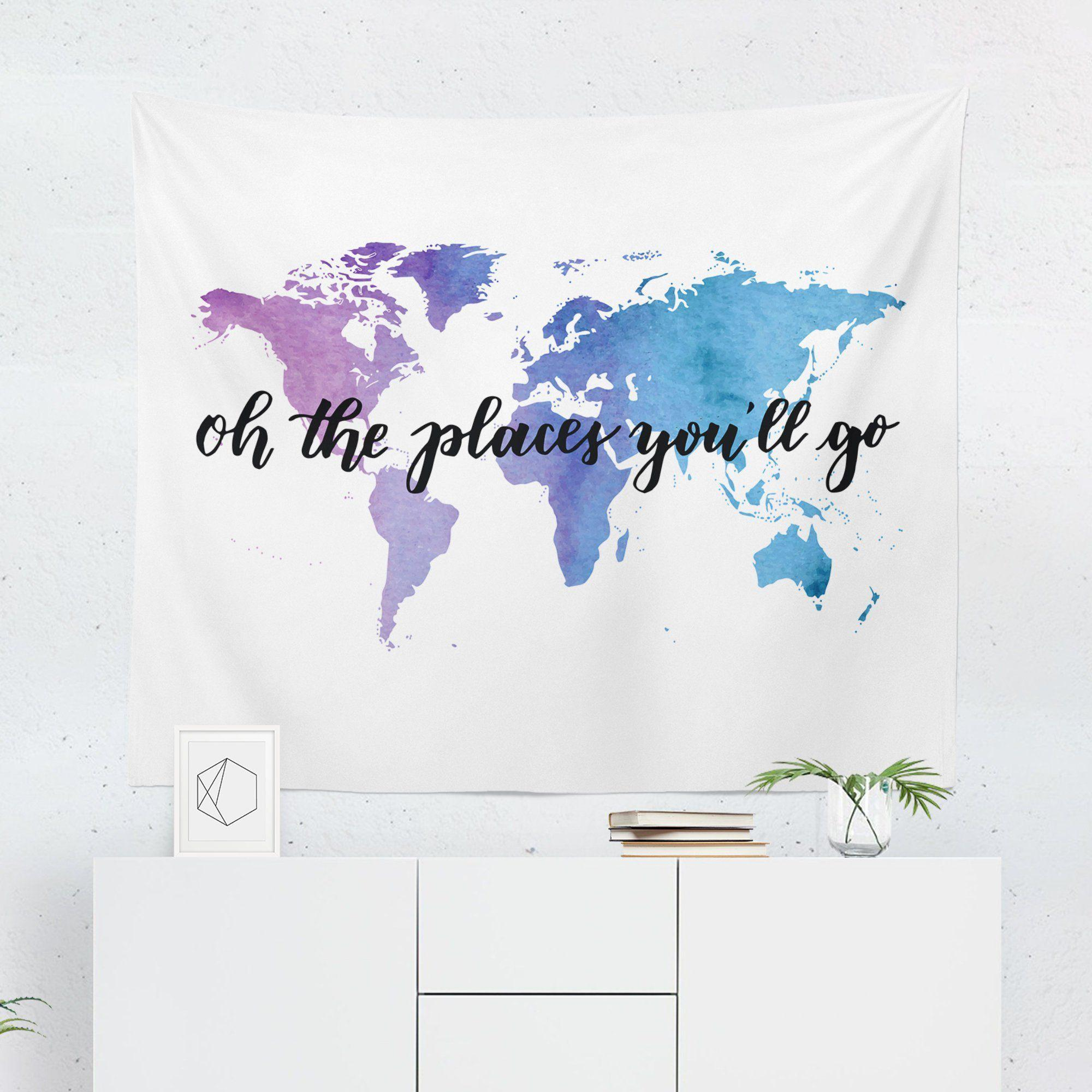 "World Map Tapestry ""Oh The Places You Will Go"" - Tapestries - W.FRANCIS"