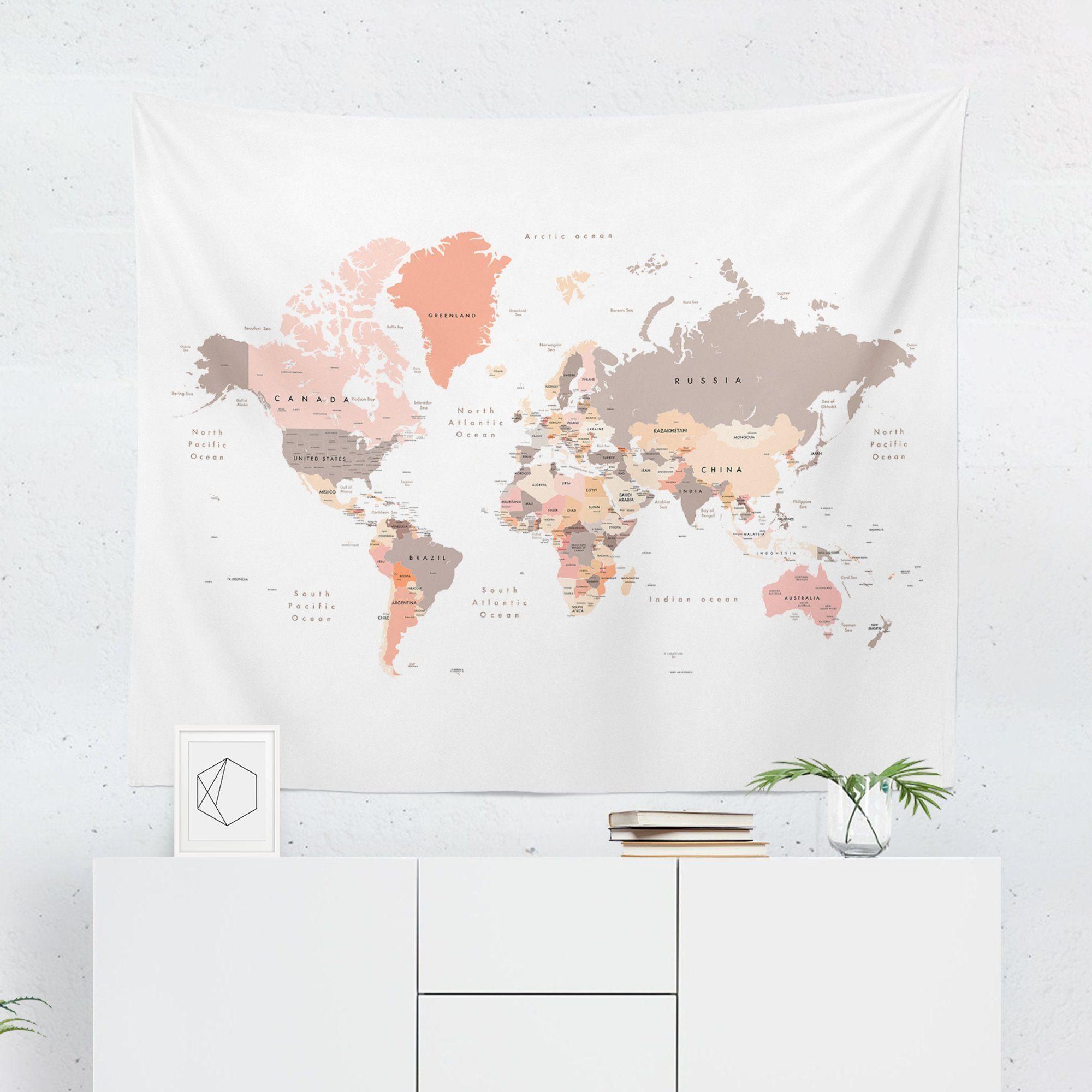 World Map Tapestry - Pastel - Tapestries - W.FRANCIS