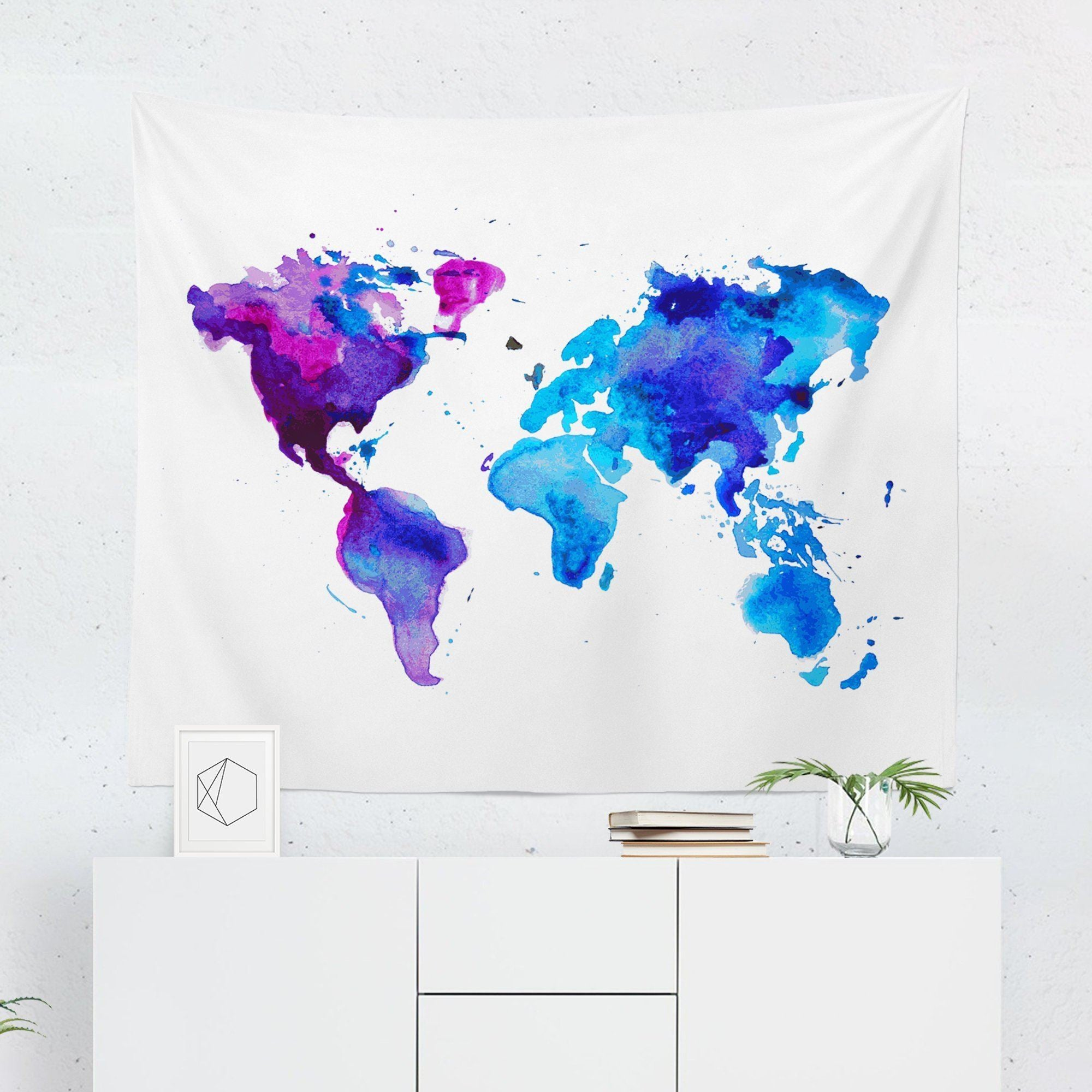 World Map Tapestry - Purple & Blue - Tapestries - W.FRANCIS