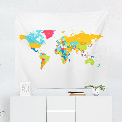 World Map Tapestry - Yellow-W.FRANCIS