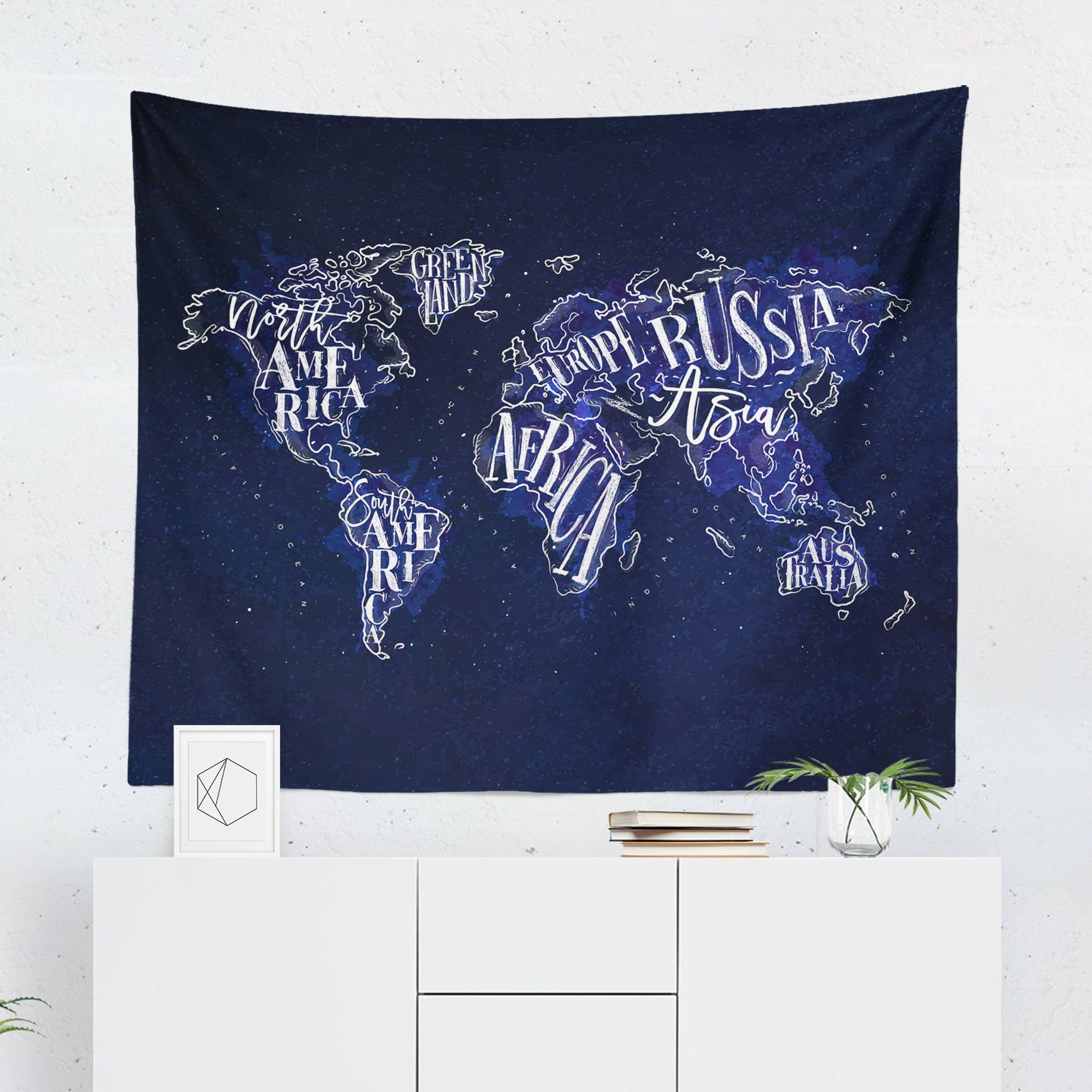 World Map Wall Hanging - Navy - Tapestries - W.FRANCIS