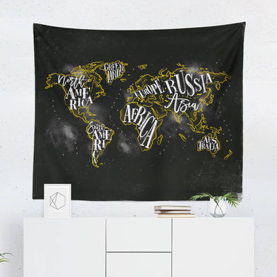 World Map Wall Tapestry - Black & White-W.FRANCIS