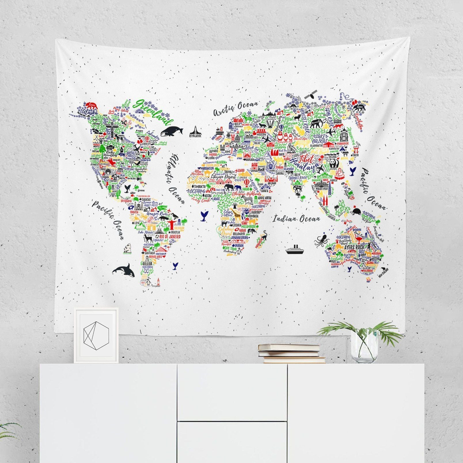 World Map Wall Tapestry - Colorful - Tapestries - W.FRANCIS