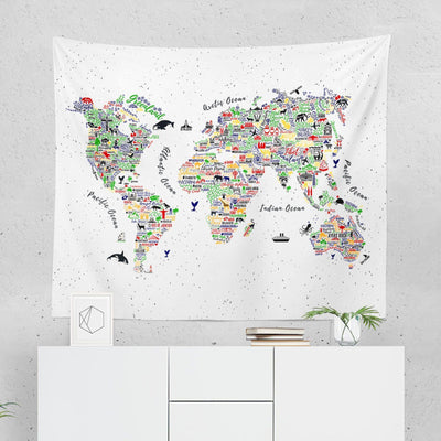 World Map Wall Tapestry - Colorful-W.FRANCIS