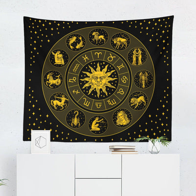Zodiac Tapestry - Black & Gold - Tapestries - W.FRANCIS