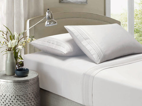 Style & Co Smocking 1000  Thread Count Egyptian Cotton Sheet sets - Queen - White - Brands Now