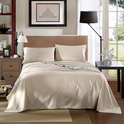 Kensington 1200TC Cotton Sheet set in Stripe Queen -Sand