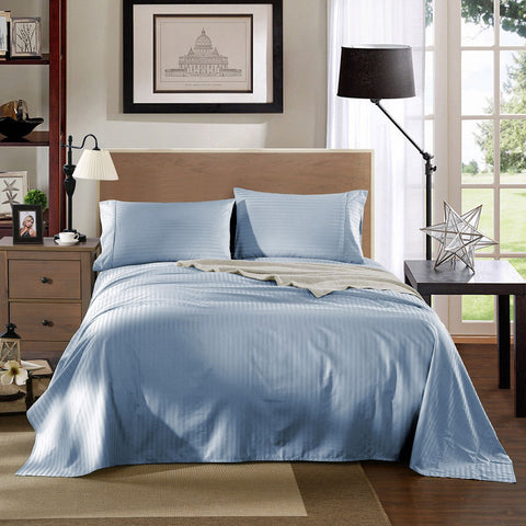 Kensington 1200Tc Cotton Sheet Set In Stripe-Mega Queen -Chambray (blue)