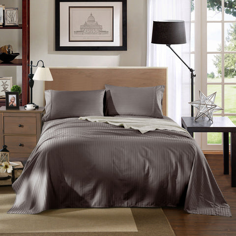 KENSINGTON 1200TC COTTON SHEET SET IN STRIPE-KING - CHARCOAL