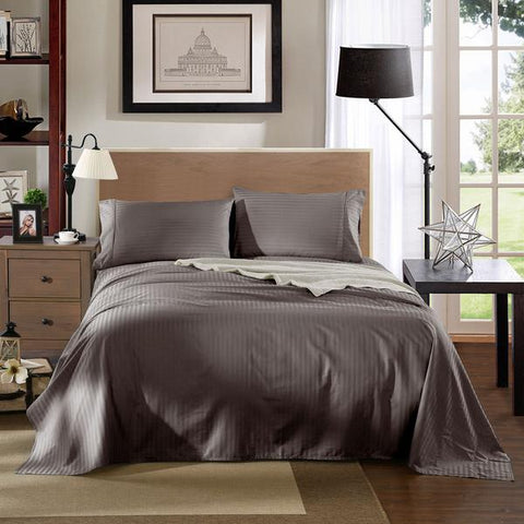 Kensington 1200TC Ultra Soft 100% Egyptian Cotton Sheet Set In Stripe-Mega Queen - Charcoal