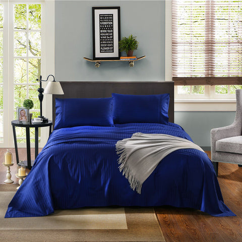 KENSINGTON 1200TC COTTON SHEET SET IN STRIPE-MEGA KING -INDIGO