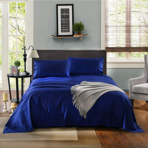 Kensington 1200TC Ultra Soft 100% Egyptian Cotton Sheet Set In Stripe-Mega Queen - Indigo