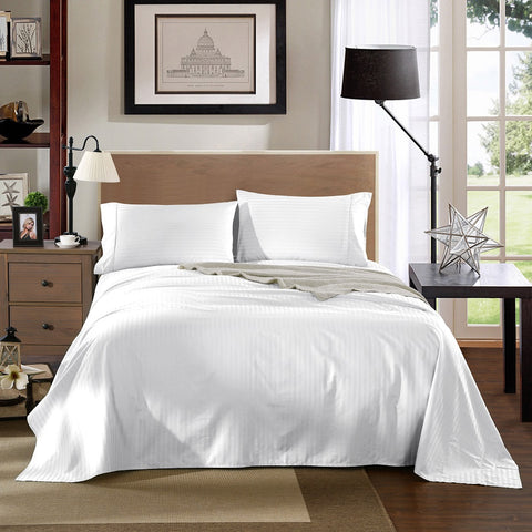 KENSINGTON 1200TC COTTON SHEET SET IN STRIPE-MEGA QUEEN -WHITE
