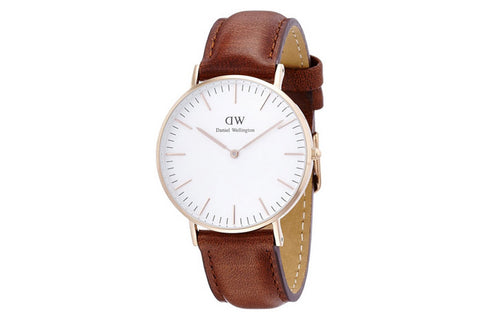 Daniel Wellington Women's Classic St Mawes Leather Watch - Rose Gold/Brown - Brands Now