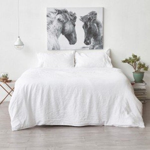 Royal Comfort 100% All Natural Luxury Linen Quilt Set - White - Double - Brands Now