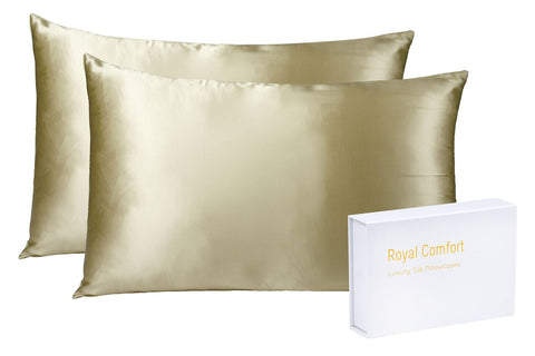 ROYAL COMFORT MULBERRY SILK PILLOW CASE TWIN PACK - SIZE: 51X76CM - CHAMPAGNE