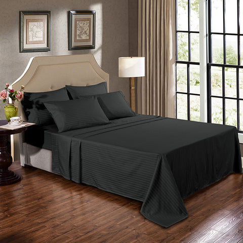 Kensington 1200TC Ultra Soft 100% Egyptian Cotton Sheet Set In Stripe-Mega Queen - Graphite