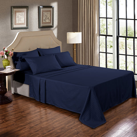 Kensington 1200TC Ultra Soft 100% Egyptian Cotton Sheet Set In Stripe-Mega Queen - Navy