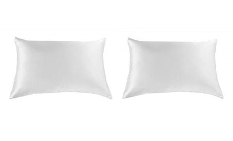 ROYAL COMFORT MULBERRY SILK PILLOW CASE TWIN PACK - SIZE:  51X76CM - WHITE
