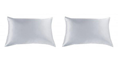 ROYAL COMFORT MULBERRY SILK PILLOW CASE TWIN PACK - SIZE: 51X76CM - SILVER