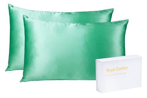 ROYAL COMFORT MULBERRY SILK PILLOW CASE TWIN PACK - SIZE: 51X76CM - MINT