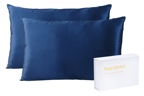 ROYAL COMFORT MULBERRY SILK PILLOW CASE TWIN PACK -SIZE: 51X76CM - NAVY