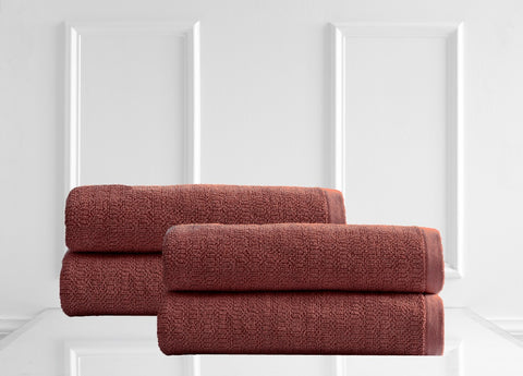 Style & Co Resort 600 GSM Egyptian Cotton Jacquard 4 Pack Bath Sheets  - Marsala